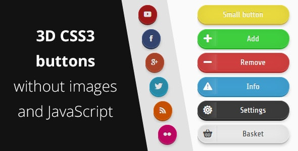 3D CSS3 buttons without images and JS