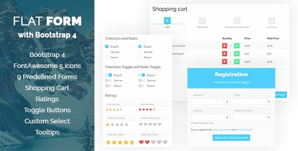 Flat Form with Bootstrap 4